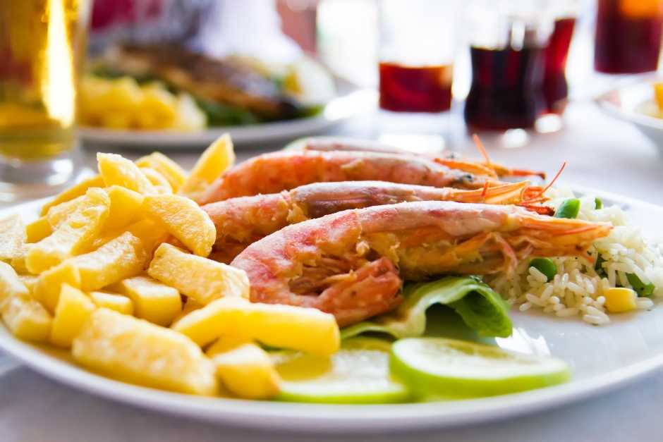 Image of a Chinese Dish, King Prawns and Chips